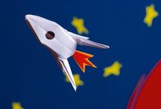 Rocket en espacio Foto de archivo libre de regalías