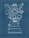 Rocket engine design. It can be used as an illustration for the high-tech, engineering development and research. Rocket engine drawing on black background Stock Images