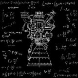 Rocket engine design. It can be used as an illustration for the high-tech, engineering development and research. Rocket engine drawing on blackboard with Stock Image