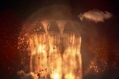 Rocket engines and fire duting the missile launch stock images