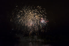 Rocket exploding. Fireworks at lake in munich royalty free stock images