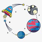 Rocket exploring the planets in the space galaxy. Vector illustration Royalty Free Stock Image