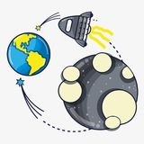 Rocket exploring to moon and come back to earth planet. Vector illustration Royalty Free Stock Photography