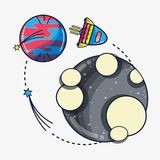 Rocket exploring to moon and come back to venus planet. Vector illustration Stock Image