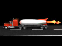 Rocket fast logistics. Track with rocket on it's back driving by the road on black background stock illustration