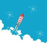 Rocket-Feuerwerksikone im modernen flachen Design Stockfotografie