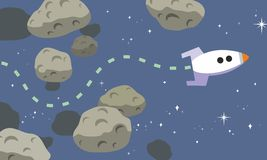 Rocket Finds Path Through Asteroids. Rocket Finds Path Through Asteroid Belt Cartoon Royalty Free Stock Images