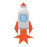 Rocket with fire related icon. Illustration image Royalty Free Stock Photo