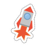 Rocket with fire related icon. Illustration image Stock Photo