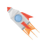 Rocket with fire related icon. Illustration image Royalty Free Stock Images