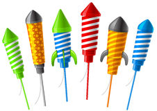 Rocket fireworks. Illustration of colorful firework rockets, isolated on white background Royalty Free Stock Images