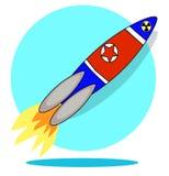 Rocket with flag of North Korea isolated on white background stock image