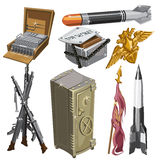 Rocket, flag, weapons, and other objects. Big vector set on a military theme vector illustration