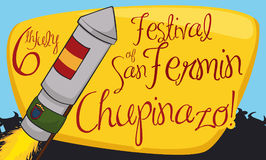 Rocket with Flags, Sign and Bulls Silhouette for San Fermin, Vector Illustration. Banner with a rocket on fire for Chupinazo;  event with Spain and Pamplona Royalty Free Stock Photo