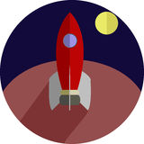 Rocket Flat Icon royaltyfri illustrationer