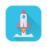 Rocket Flat Icon Immagini Stock