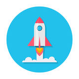 Rocket Flat Icon Images libres de droits