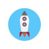 Rocket Flat Icon Bottone variopinto rotondo, segno circolare Startup di vettore, illustrazione di logo Immagine Stock Libera da Diritti
