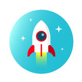 Rocket  in flat style on circle sky with stars.  Stock Photo