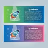Rocket-Fliegersatz Vektorillustration auf einem weißen Hintergrund Sammlung moderne modische Broschüren Lizenzfreie Stockfotos