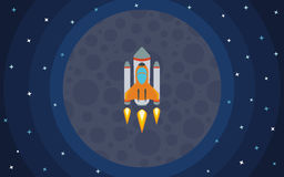 The rocket flies against the backdrop of the planet. The rocket in space. Space travel. Vector illustration with flying rocket Royalty Free Stock Image