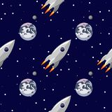 Rocket flies near the planet Earth seamless pattern. Space print vector illustration