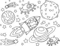 The rocket flies to the moon coloring book. Antistress planet, earth and moon Vetor illustration in zentangle style. EPS 10 Stock Images