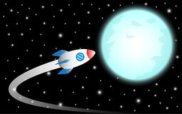 Rocket Flies To The Moon. Vector Illustration Business Concept As A Rocket Is Flying To The Shinning Blue Full Moon It Means Dreaming Or Hoping To Achieve royalty free illustration