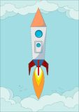 The rocket flight in the blue clear sky, vector Stock Photo