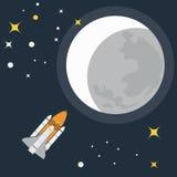 Rocket Flight to Moon Vector illustration Stock Photo