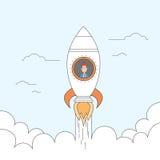 Rocket Fly Sky Business Man comienza para arriba concepto del éxito Fotos de archivo