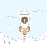 Rocket Fly Sky Business Man Start Up Success Concept Stock Photos