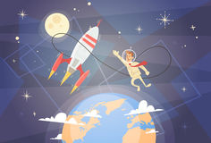 Rocket Fly Sky Business Man Startup Success Concept. Flat Vector Illustration royalty free illustration
