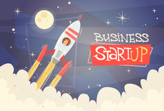 Rocket Fly Sky Business Man Startup Success Concept. Flat Vector Illustration Royalty Free Stock Photo