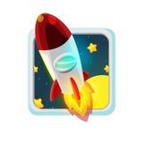 Rocket Fly Space Cartoon rouge Photo libre de droits