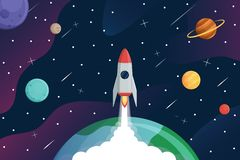 Rocket fly to galaxy,exploring space  background,vector. Rocket fly to galaxy,exploring space background stock illustration