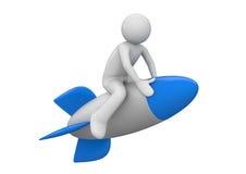 Rocket flyer. 3d character flying on a toony rocket royalty free illustration