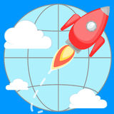 Rocket flying around the planet. Stock Image