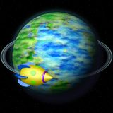 Rocket flying aroung Earth globe Royalty Free Stock Photography