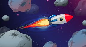 Rocket flying through astriods. Illustration vector illustration
