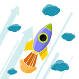Rocket is flying in the clouds. Stock Image