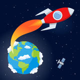 Rocket Flying from Earth to Space. A cartoon red rocket flying from planet Earth to explore the universe, on a dark blue outer space background with bright stars stock illustration