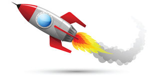 Rocket Flying 2. Illustration of Rocket Flying with fire and smoke stock illustration