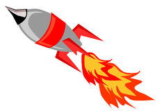 Rocket. Flying isolated vector artwork Stock Photography