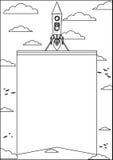 Rocket Flying no espaço e levantamento da bandeira ilustração do vetor