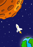 Rocket Flying Through Outer Space Fotos de archivo libres de regalías