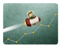 Rocket flying over a market graph Stock Image