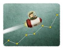 Rocket flying over a market graph. Businessman inside a rocket and flying over a market graph royalty free illustration