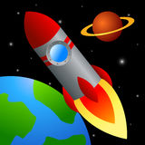 Rocket is flying in space Royalty Free Stock Photo