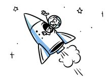 Rocket flying space cartoon illustration Royalty Free Stock Images